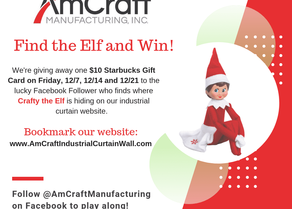 AmCraft's Industrial Curtain Find the Elf Holiday Giveaway